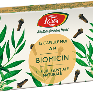 Biomicin A14 (antibiotic natural), 15 capsule moi, Fares