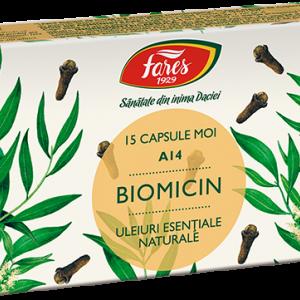 Biomicin A14 (antibiotic natural), 15 capsule moi, Fares