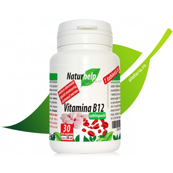 Vitamina B12 sublinguala, 30 tab NaturHelp
