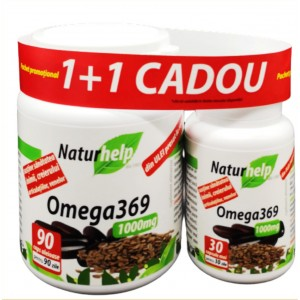 PACHET PROMO: OMEGA 3 6 9 ULEI IN 1000MG 90 CAPSULE + 30 CAPSULE CADOU NATURHELP