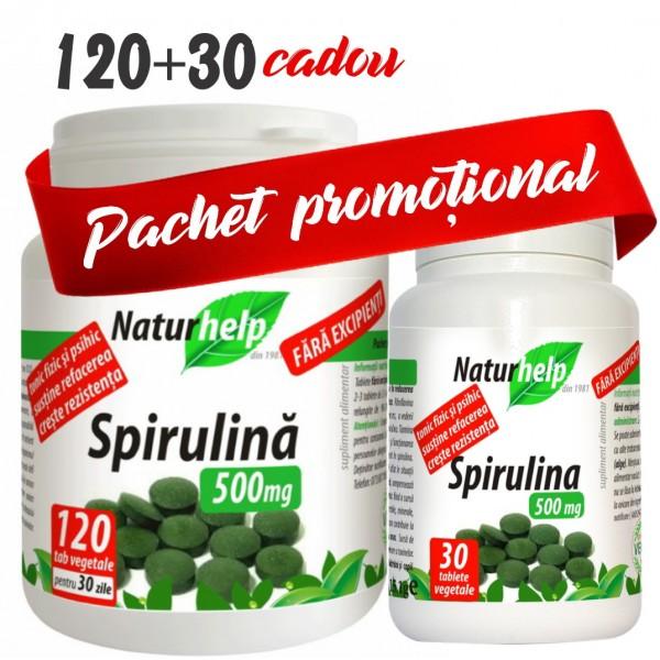 PACHET PROMO: SPIRULINA 500MG 120 TABLETE CU 30 TABLETE CADOU NATURHELP