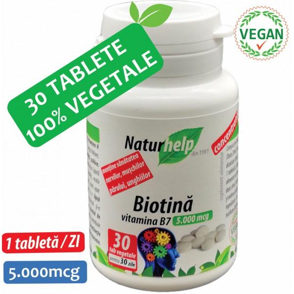 BIOTINA VITAMINA B7 5000MCG 30 TABLETE  VEGETALE NATURHELP
