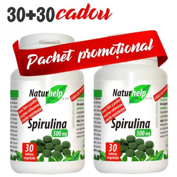 PACHET PROMO: SPIRULINA 500MG 30 TABLETE CU 30 TABLETE CADOU NATURHELP