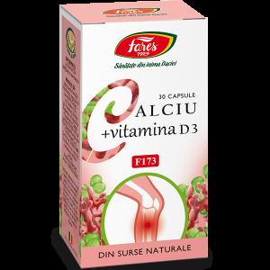 Calciu + Vitamina D3, F173, 30 capsule, Fares
