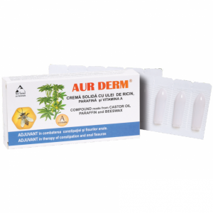 Aur Derm crema solida (supozitoare) cu ulei de ricin, parafina si vitamina A, 10X1.5G, Laur Med Plant