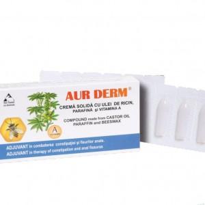 Aur Derm crema solida (supozitoare) cu ulei de ricin, parafina si vitamina A, 6X1.5G , Laur Med Plant