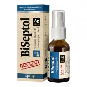 BiSeptol spray 20 ml cu propolis, albastru de metilen si argint coloidal, fara alcool, Dacia Plant