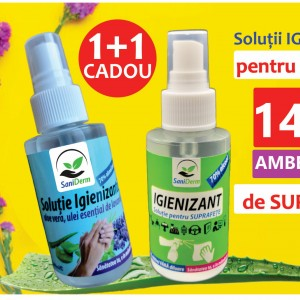 PACHET PROMO: Igienizant pentru SUPRAFETE 70% alcool 100ML+Spray Igienizant MAINI 70% alcool 100ML CADOU