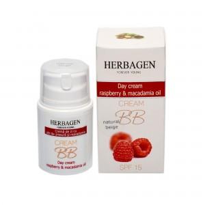 Cremă de zi BB cu ulei de zmeură și macadamia SPF 15, 50 g, Herbagen