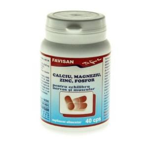 Calciu, Magneziu, Zinc, Fosfor 40cps, Favisan