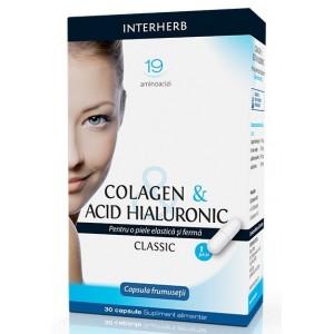 Colagen & Acid Hialuronic Clasic, 30 cps, Interherb