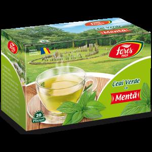 Ceai verde cu mentă, 20 plicuri, Fares