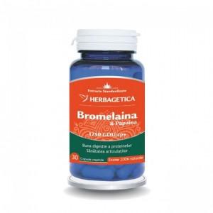Bromelaina & Papaina, 30 capsule, Herbagetica
