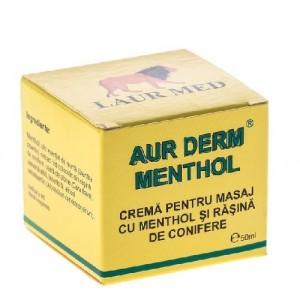 Crema pentru masaj cu menthol si rasina Aur Derm , 50 ml, Laur Med Plant