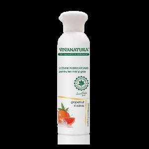 Lotiune purificatoare pentru ten mixt si gras cu grapefruit si salvie, 150 ml, VivaNatura