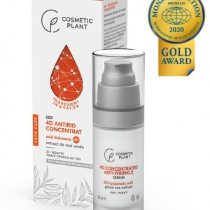 Ser antirid concentrat cu acid hialuronic 4D & extract de ceai verde, 30 ml, Cosmetic Plant