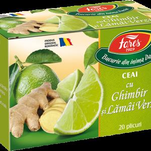Ceai cu ghimbir si lamai verzi, 20 plicuri, Fares