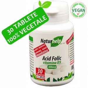 ACID FOLIC VITAMINA B9 400mcg 30 TABLETE VEGETALE NATURHELP