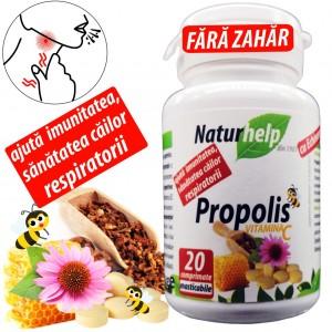Propolis cu Vitamina C si Echinacea 20 cpr masticabile fără zahăr NaturHelp