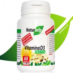 Vitamina D3 5000 UI 125mcg, 60 gelule, NaturHelp