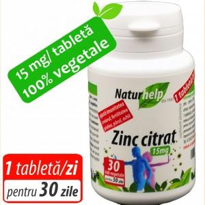ZINC CITRAT 15MG 30 TABLETE VEGETALE NATURHELP