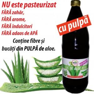 Aloe Vera gel suc cu pulpa, 1L